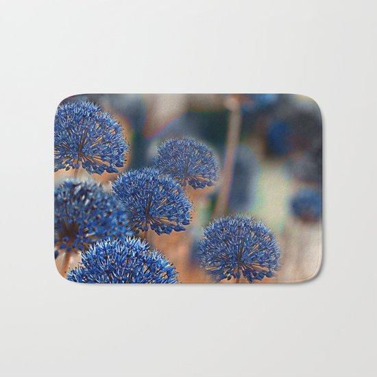 Blue ball flowers. Bath Mat