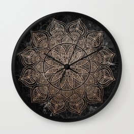 Mandala - rose gold and black marble 4 Wall Clock