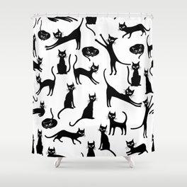 Black cats, seamless patten Shower Curtain