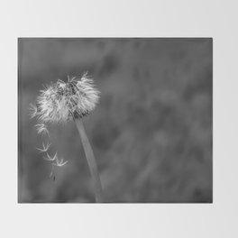 Black and white dandelion flying petals Throw Blanket