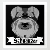schnauzer Art Prints featuring Schnauzer by mailboxdisco