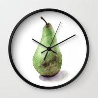 pear Wall Clocks featuring Pear  by Bridget Davidson
