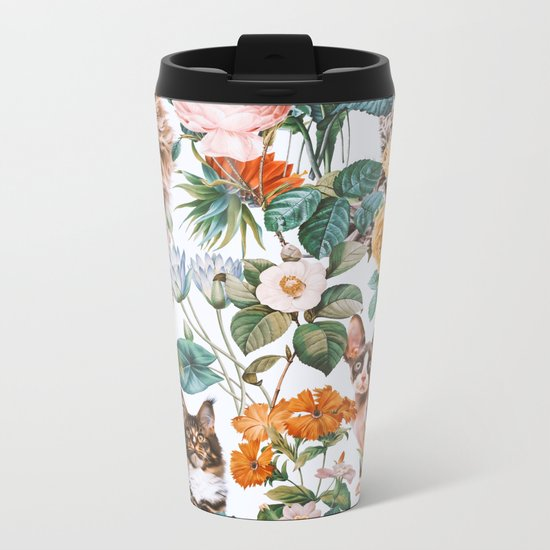 Cat and Floral Pattern III Metal Travel Mug
