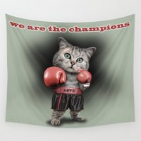 boxing Wall Tapestries featuring BOXING CAT by ADAMLAWLESS