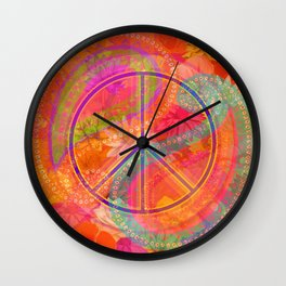 Hippie Chic Paisley Flowers Peace Wall Clock