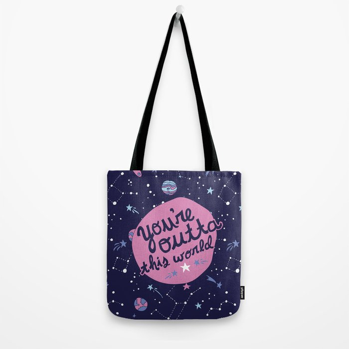 You're Outta this World in Purple Tote Bag