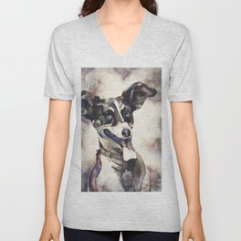 Watercolor painting of jack russell terrier smiling.  Dog artwork, watercolor painting dog fine art Unisex V-Neck