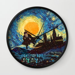 Flaying wizard starry night iPhone 4 5 6 7 8, pillow case, mugs and tshirt Wall Clock