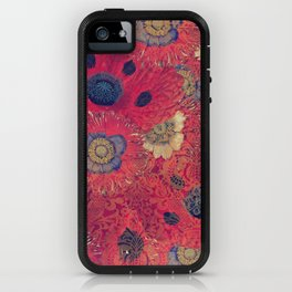 Poppies Deluxe:  Hot red and pink poppy fill with blue and gold details - damask iPhone Case