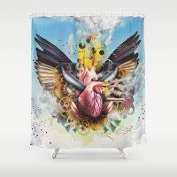 clockwork Shower Curtains featuring Clockwork Heart by Jay Haldon