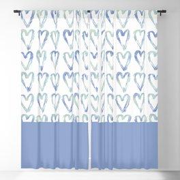 Heart Pattern Blue Blackout Curtain