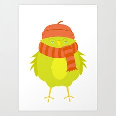 Winter Bird: Green Art Print