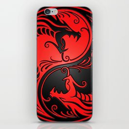 Yin Yang Dragons Red and Black iPhone Skin
