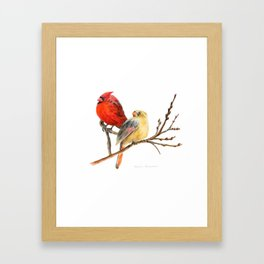 The Perfect Pair - Male and Female Cardinal by Teresa Thompson Framed Art Print