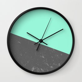 Marble Geometric Mint Gray #4 #decor #art #society6 Wall Clock