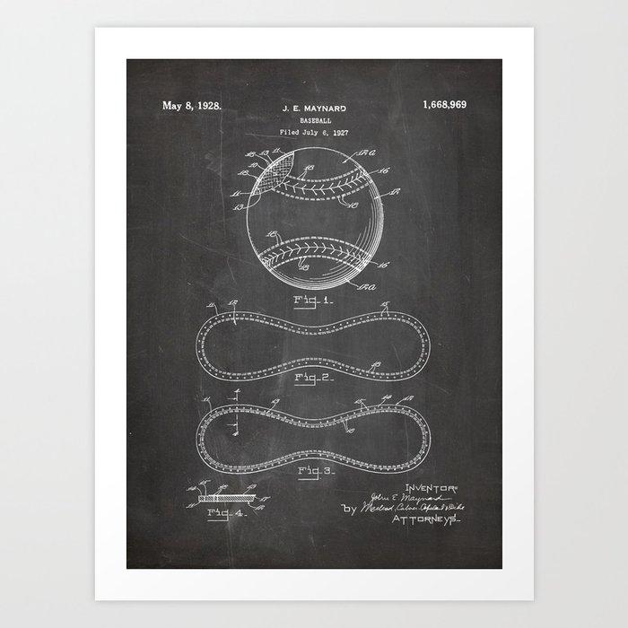 Baseball Patent - Softball Art - Black Chalkboard Kunstdrucke