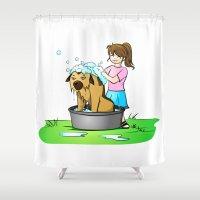 bath Shower Curtains featuring bath day by Li-Bro