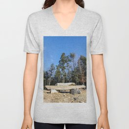 Rock Pile Among The Trees Unisex V-Neck