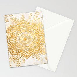 Queen Starring of Mandala-Gold Sunflower I Stationery Cards
