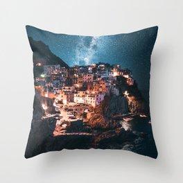 manarola at night Throw Pillow