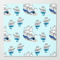 ships Canvas Prints featuring Ships Pattern by Brooke Weeber