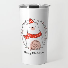 Cute bear in wreath for Christmas day Travel Mug