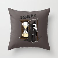 discworld Throw Pillows featuring The Death Of Rats II by kat stark
