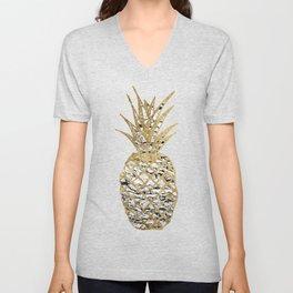 Modern Chic Marble Gold Pineapple Fruit Unisex V-Neck