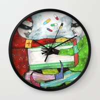 pills Wall Clocks featuring Pills by Franck Chartron