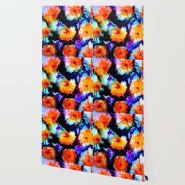 Colorful Abstract Flower Painting Orange Purple Black Wallpaper