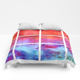 Water Fire Abstract Grid Comforters