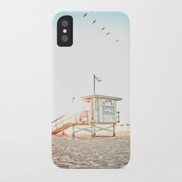 Pelicans Over the 10th Street Lifeguard Tower iPhone Case