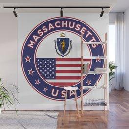 Massachusetts, Massachusetts t-shirt, Massachusetts sticker, circle, Massachusetts flag, white bg Wall Mural