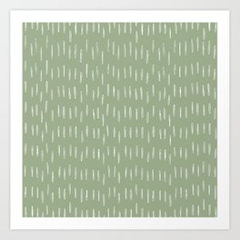 Raindrop Boho Abstract Pattern, Sage Green Art Print