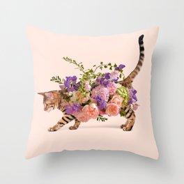 FLOWER CAT Throw Pillow