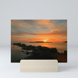 Sunrise in the cove of Sa Sal Rossa, Ibiza Mini Art Print