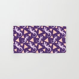 Wild crawling lizards, geometric triangle shapes whimsical ethnic tribal retro vintage dark purple lizard abstract pattern. Gifts for geometry and animal lovers. Herpetology theme. Hand & Bath Towel