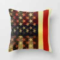 american flag Throw Pillows featuring American Flag by Adam Reynolds