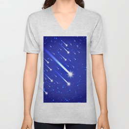 Space background with stars and comets Unisex V-Neck