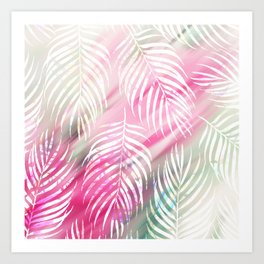 Tropical blush pink mint green white watercolor palm tree Art Print