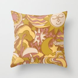 Psychedelic Daydream in Gold + Mauve Throw Pillow