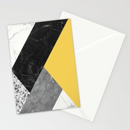 Black and White Marbles and Pantone Primrose Yellow Color Stationery Cards