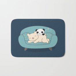 Kawaii Lazy Panda and Polar Bear Bath Mat