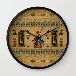 Hathor Egyptian Ornament on papyrus Wall Clock