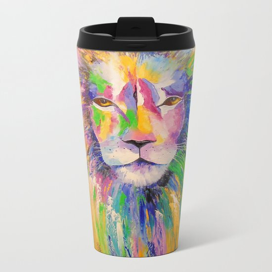 Colorful lion Metal Travel Mug