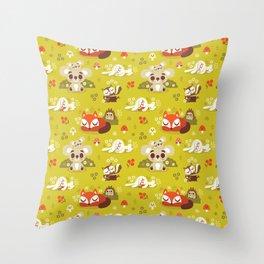 Sleeping Woodland Animals Throw Pillow