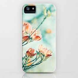 Teal Peach Coral Flower Photography, Aqua Turquoise Orange Dogwood Floral Nature Art iPhone Case