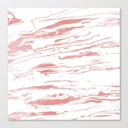 Modern abstract pink marbleized paint. Canvas Print