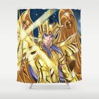 saga Shower Curtains featuring Gemini Saga by Studio Kawaii