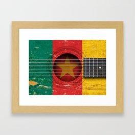 Old Vintage Acoustic Guitar with Cameroon Flag Framed Art Print